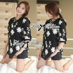 Lady Ribbon's Made Lady Helena Floral Monochrome Mini Dress