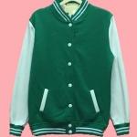 เสื้อเบสบอลสีเขียวอ่อน Baseball Jacket Light Green-White