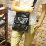 พร้อมส่ง กระเป๋าสะพายข้าง สีดำ หนังPU กระเป๋าสะพายผู้ชาย