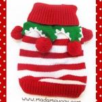 เสื้อน้องหมา ไหมพรมคริสมาสต์ สีแดง-ขาว พร้อมส่ง