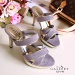 รองเท้าแฟชั่นส้นเข็มหนังกำมะหยี่คาดสีทองสวยมาก