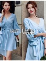 Lady Lola Dazzling Summer Blue Striped Cotton Ribbon Dress