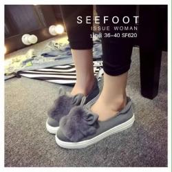 รองเท้าผ้าใบเกาหลีหูกระต่ายบุขนฟูนุ่มเกรดพรีเมี่ยม