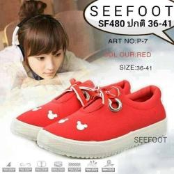 รองเท้าผ้าใบสไตล์เกาหลีปักมิกกี้เมาส์น่ารักเสริมส้นสูง