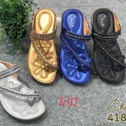 รองเท้าแตะแฟชั่นพื้นบุนุ่ม ใส่สบาย ทรงสวมนิ้วโป้งประดับอะไหล่สวยงาม