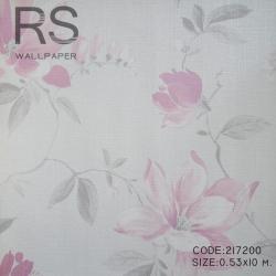 วอลเปเปอร์ลายดอกไม้ สีพื้นครีม ดอกสีชมพูแดง217200