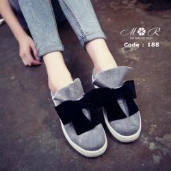 รองเท้าผ้าใบสไตล์เกาหลีแต่งโบว์น่ารักมากสูง 1 นิ้ว