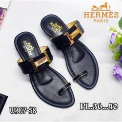 """รองเท้าแตะทรงสวมนิ้วโป้งมีส้นเล็กน้อย 1.5"""" ปั๊มโลโก้ Hermes"""