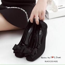 รองเท้าคัชชูส้นเตารีดประดับโบว์น่ารักพื้นบุนวมนิ่ม