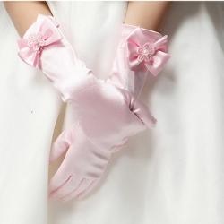 ถุงมือยาว สีชมพู Size S (1-3 ปี)