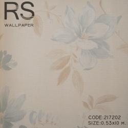 วอลเปเปอร์ลายดอกไม้ สีพื้นครีม ดอกไม้สีฟ้า 217202
