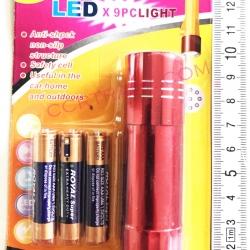 ไฟฉาย LED 9 หัว+ถ่านแผง 14.5 ซม.
