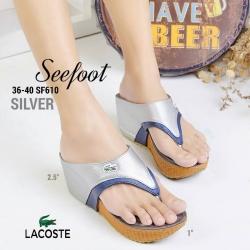 รองเท้าแฟชั่น แบรนด์ดัง LACOSTE รองเท้าสวม แบบครีบ เย็บหนัง 2 ชั้น สีทูโทน