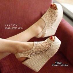 รองเท้าส้นเตารีดลูกไม้ สวยสุดๆ สายหลังเป็นยางยืด