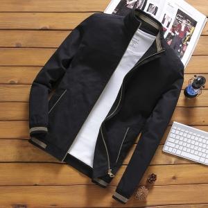 เสื้อแจ็คเก็ต ผู้ชาย สีดำ ซิปหน้า คอจีน ปลายแขนจั้ม แต่งลาย กระเป๋าข้างใช้งานได้