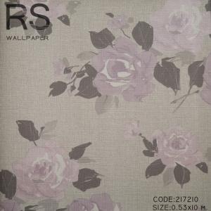 วอลเปเปอร์ลายดอกไม้ สีพื้นเทา ดอกไม้สีม่วงอ่อน 217210