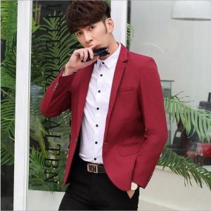 พร้อมส่ง เสื้อสูท ผู้ชาย สีแดง แขนยาว กระดุมหน้าหนึ่งเม็ด แต่งขอบกระเป๋าอก เสื้อเข้ารูป