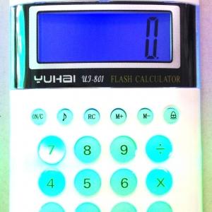 เครื่องคิดเลข 8 หลัก มีเสียง มีไฟ ขนาด 12.5 ซม. (1x6)