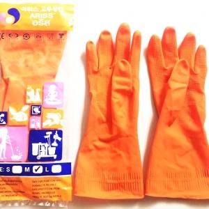 ถุงมือยางสีส้มเกาหลี ตราอริส size L แพ็คกล่อง