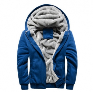 พร้อมส่ง แจ็คเก็ตกันหนาว มีฮูด สีน้ำเงิน บุขนด้านใน ใส่กันหนาว hoodie jacket