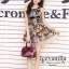 Sleeveless Chiffon pleated Dress printing style korea thumbnail 1