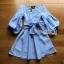 Lady Lola Dazzling Summer Blue Striped Cotton Ribbon Dress thumbnail 5