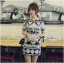 Lady Ribbon's Made Lady Isabel Vintage Glam Mixed Print Mini Dress thumbnail 1