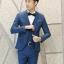 พรีออร์เดอร์ ชุดสูทผู้ชาย สีน้ำเงิน เสื้อสูท + เสื้อกั๊ก + กางเกงขาวยาว thumbnail 1