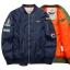 พร้อมส่ง เสื้อแจ็คเก็ตกันหนาว สีน้ำเงิน ซับในสีส้มบุนวม ใส่กันหนาว สไตล์เสื้อแจ็คเก็ตนักบิน แฟชั่นผู้ชาย thumbnail 1