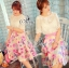 Sevy Three Pieces Of Sweet Lace T-Shirt and Lining With Flora Sweet Pink Lady Skirt thumbnail 4