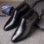 พร้อมส่ง รองเท้าคัชชู ผู้ชาย หนัง PU สีดำ ใส่ทำงาน แบบสวม มีส้น thumbnail 1