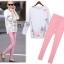 Cliona made,White Sweater Printing & Pink Skinny Set thumbnail 1