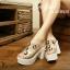 รองเท้าแฟชั่นส้น pu ส้นหลังสูง 4นิ้ว เสริมหน้า1.5นิ้ว หน้าคาดพลาสติกใสปักหมุดเพชร น้ำหนักเบา พื้นบุนวมนิ่ม thumbnail 2