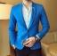 พร้อมส่ง เสื้อสูท ผู้ชาย สีฟ้าเข้ม คอปกแต่งที่ปกเสื้อเท่ห์ แขนยาว กระดุมหน้าหนึ่งเม็ด เสื้อเข้ารูป ใส่ทำงาน ใส่ออกงาน thumbnail 1