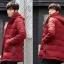 พร้อมส่ง เสื้อโค้ท ผู้ชาย สีแดง เสื้อกันหนาว ตัวยาว มีฮู้ด ซิปหน้าเต็มตัว มีซับใน thumbnail 2