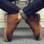 พร้อมส่ง รองเท้าบูทผู้ชาย สีน้ำตาล มีซิปด้านข้าง รองเท้าบูทหนัง แบบร้อยเชือก ใส่ง่าย thumbnail 1