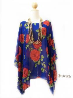 Handkerchief Chiffon Blouse Size 50 สีน้ำเงินกุหลาบแดง