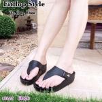 รองเท้าแฟชั่นหูคีบสไตล์ fitflop แต่เข็มขัดด้านข้างประดับโลโก้จรเข้สวยงาม