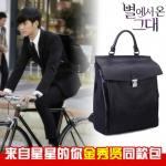 พร้อมส่ง กระเป๋าเป้สะพายหลัง สีดำ หนังPu กระเป๋าเป้สไตล์เกาหลี