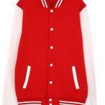 เสื้อเบสบอลสีแดงแขนขาว Baseball Jacket Red-White