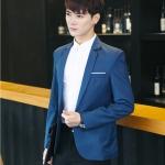 พร้อมส่ง เสื้อสูท ผู้ชาย สีน้ำเงิน แขนยาว กระดุมหน้าหนึ่งเม็ด แต่งขอบกระเป๋าอกสีขาว เสื้อเข้ารูป ใส่ทำงาน