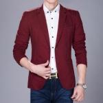 พร้อมส่ง เสื้อสูทลำลอง สีแดง คอปก เสื้อสูทผู้ชาย