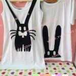 เสื้อคู่รัก กระต่าย เสื้อกล้ามคู่ เสื้อยืดสีขาว