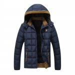 พร้อมส่ง แจ็คเก็ตกันหนาวผู้ชาย สีน้ำเงิน มีฮูด บุนวม ด้านในบุกำมะหยี่กันหนาว ใส่ลุยหิมะ