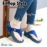 รองเท้าสไตล์ fitflop ทำขากผ้าสักหลาดบุนุ่มพื้นนิ่มไม่บาดเท้าแต่งโลโก้จรเข้ด้านหน้า