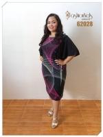 เดรสแขนระบาย Ruffle Sleeves Dress 2XL (ลายกราฟฟิกแขนดำ)