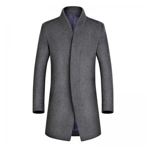 พร้อมส่ง เสื้อโค้ทผู้ชาย สีเทา ตัวยาวผ้าวูลเนื้อหนา ซับในบุนวม ใส่กันหนาว แฟชั่นผู้ชายเรียบหรู ใส่กันหนาวได้ดี