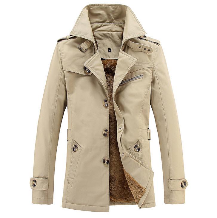 พร้อมส่ง เสื้อแจ็คเก็ตกันหนาวผู้ชาย สีกากี บุขนด้านใน ออกแบบเท่ห์ ใส่กันหนาว