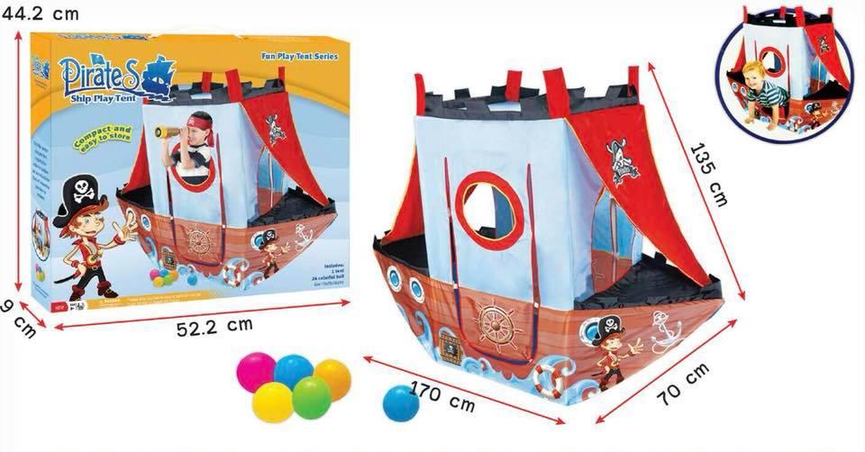 เต็นท์ บ้านบอลเรือโจรสลัด แสนสนุก พร้อมลูกบอลในกล่อง 24 ลูก ขนาดสินค้า 170*70*135 เซนติเมตร