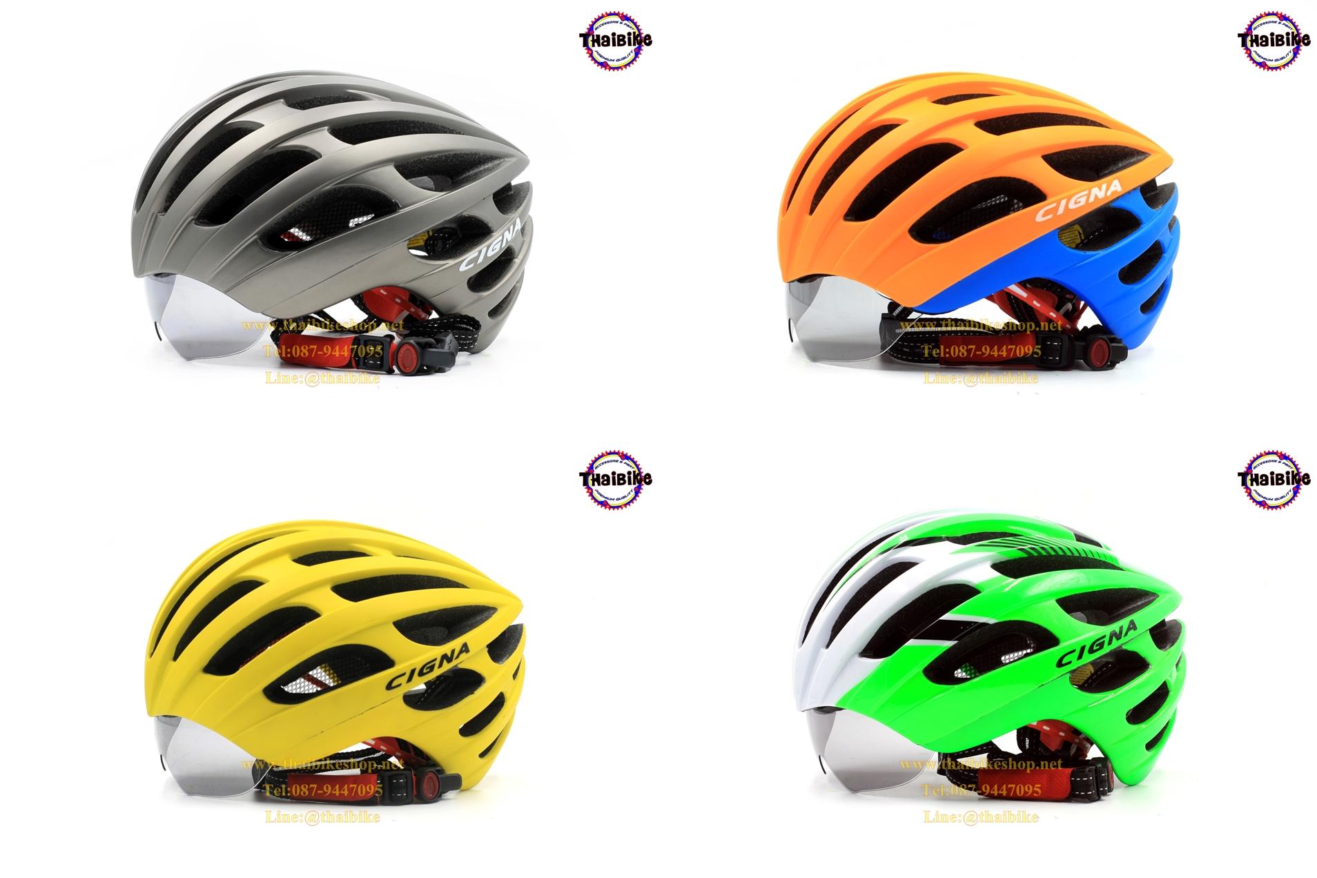 หมวกกันน็อคจักรยาน cigna แบบมีแว่นในตัว